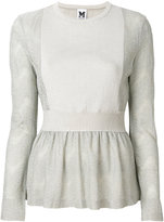 M Missoni embroidered flared knitted top