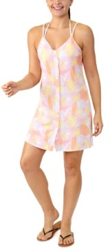 Miken Juniors' Leaf-Print Button-Front Cover-Up, Created for Macy's Women's Swimsuit