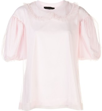Simone Rocha tulle-overlay puff-sleeved T-shirt