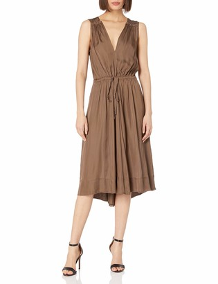 BCBGMAXAZRIA Azria Women's Katia Low V-Neck Ruffle Woven City Dress