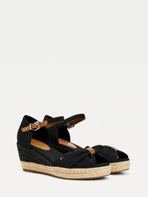 Tommy Hilfiger Leather Ankle Strap Crossover Wedges