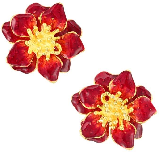 Kenneth Jay Lane Flower Clip Earrings