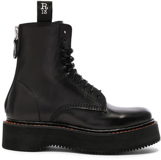 R 13 Leather Boots in Black | FWRD