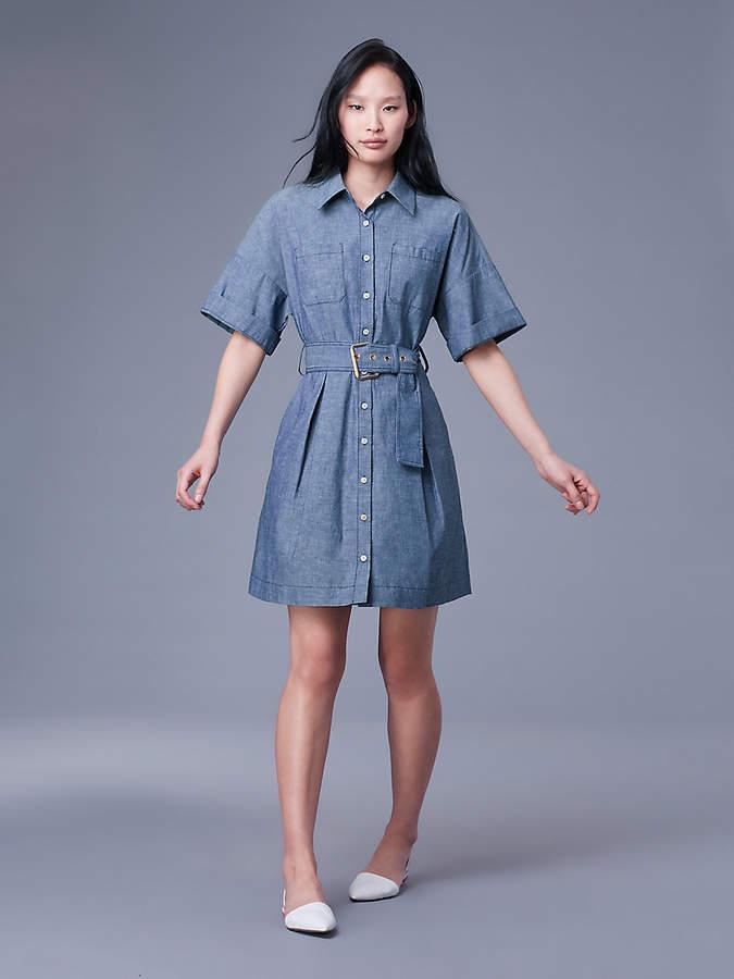 Diane von Furstenberg Short-Sleeve Button-Up Denim Belted Shirt Dress