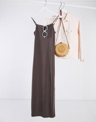 Monki Bonita cami slip dress in brown