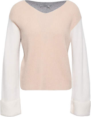 Vince Color-block Ribbed-knit Cashmere Sweater