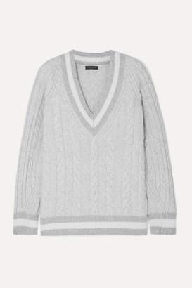 Rag & Bone Theon Oversized Striped Cable-knit Merino Wool Sweater - Gray