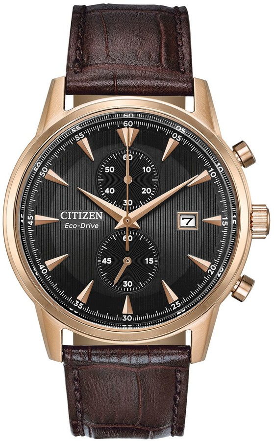 Citizen Eco-Drive Men's Corso Leather Chronograph Watch - CA7003-06E