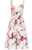 Quiz Cream Floral Print Sleeveless Skater Dress