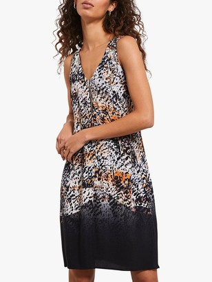Mint Velvet Animal Print Cocoon Dress, Natural