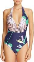 Trina Turk Midnight Paradise Plunge One Piece Swimsuit