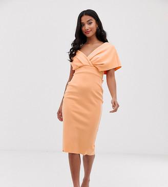Asos DESIGN Petite fallen shoulder midi pencil dress with tie detail-Orange