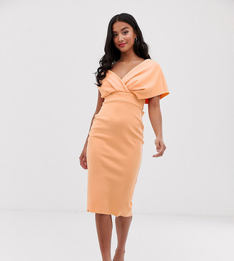 Asos DESIGN Petite fallen shoulder midi pencil dress with tie detail
