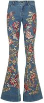Alice + Olivia Ryley Embroidered Flared Jeans