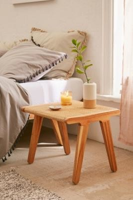 Urban Outfitters Petra Rattan Side Table - Beige ALL at
