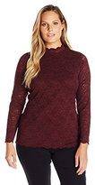 Vince Camuto Women's Plus Size Long Sleeve Mock Neck Scallop Lace Top