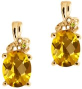 Gem Stone King 2.51 Ct Checkerboard Yellow Citrine and Diamond 18k Yellow Gold Earrings