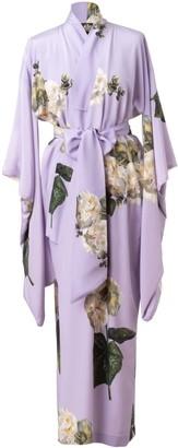 Castlebird Rose Fleur Blanche Maxi Silk Kimono - Lavender