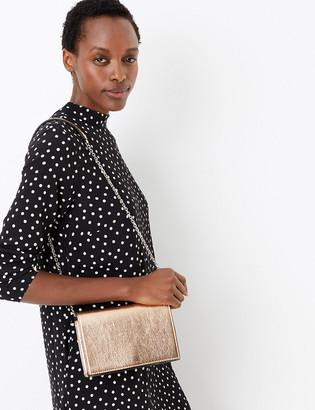 Marks and Spencer Foldover Chevron Quilted Clutch Bag