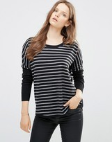 French Connection Stripe Scoop Hem Sweater In Black