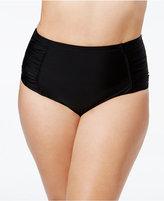 Jessica Simpson Plus Size Shirred High-Waist Bikini Bottoms