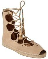 Cynthia Vincent Palace Suede Lace-up Sandal.