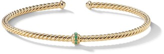 David Yurman 18kt yellow gold Renaissance Center Station emerald cuff