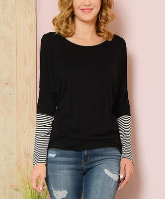 Shamaim Women's Tee Shirts BLACK - Black Contrast-Sleeve Cold Shoulder Top - Women