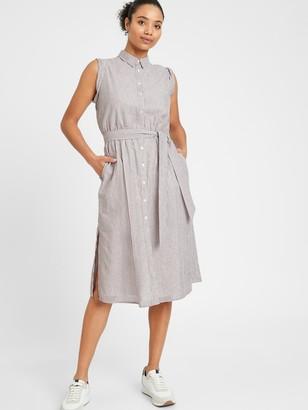 Banana Republic Stripe Cotton-Linen Shirtdress