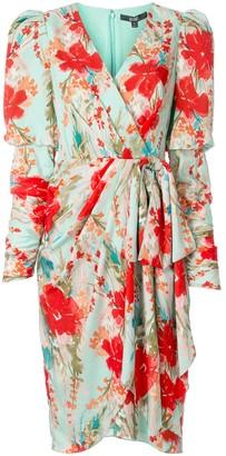 Badgley Mischka Floral Print Wrap Dress