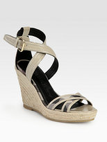 Burberry Walmer Canvas & Patent Leather Espadrille Wedges