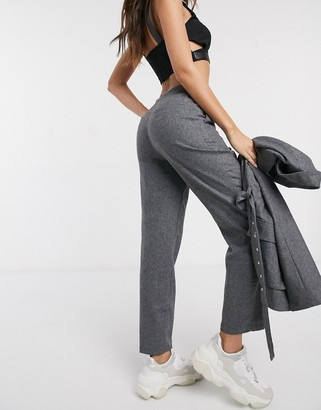 NA-KD co-ord slim leg tailored trousers in grey