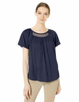 Jason Maxwell Women's Short Sleeve Lace Inset Peasant Top