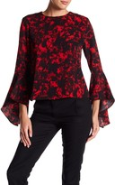 Adrienne Vittadini Printed Button Back Blouse