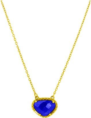 ADORNIA Rose Cut Lapis Pendant Necklace