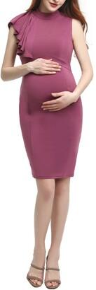 Kimi and Kai Josephine Ruffle Maternity Sheath Dress