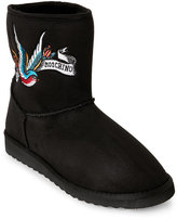 Love Moschino Black Embroidered Tattoo Faux Sheepskin Boots