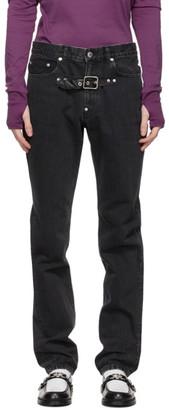 John Lawrence Sullivan Black Front Side Belted Jeans