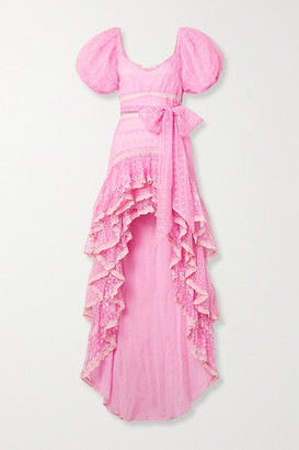 LoveShackFancy Cayden Crochet-trimmed Embroidered Silk-organza And Tulle Maxi Dress - Pink
