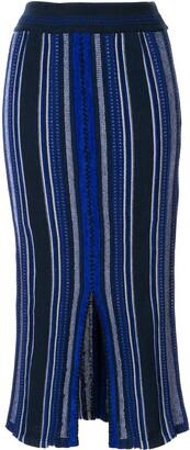 Mame Kurogouchi Striped Knitted Midi Skirt