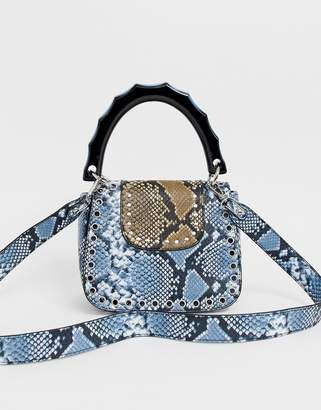 Sacred Hawk multi snake print lady bag with resin handle