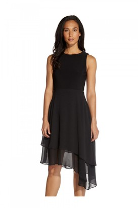Adrianna Papell Jersey & Chiffon Fit And Flare Dress In Black