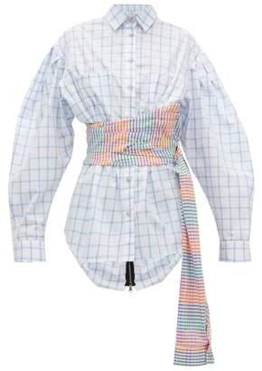 Natasha Zinko Sash-waist Checked Cotton Shirt - Womens - White Multi