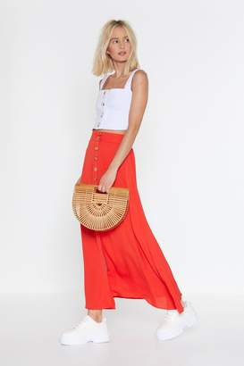 Nasty Gal Womens Tumbling Down Button-Down Maxi Skirt - Orange - M