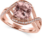 Effy Blush by Morganite (1-5/8 ct. t.w.) and Diamond (1/6 ct. t.w.) Swirl Ring in 14k Rose Gold