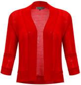 BB B+B Women's Open Cardigans RED - Red Waffle Three-Quarter Sleeve Cropped Open Cardigan - Women