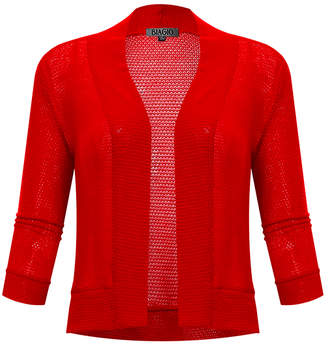 BB B+B Women's Open Cardigans RED - Red Waffle Three-Quarter Sleeve Cropped Open Cardigan - Women