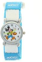 TimerMall Children Boys Girls Light Blue Nylon Velcro Tape Quartz Cartoon Mickey Analogue Watches