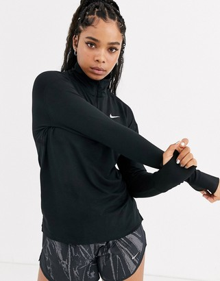 Nike Running element half zip long sleeve top in black
