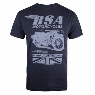 BSA Motocycles Men's Tonal Invert T-Shirt Blue (Heather Navy Hny) XX (Size:XX-Large)